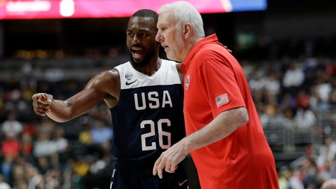 <p>               United States' Kemba Walker, left, talks to  coach Gregg Popovich during the first half of the team's exhibition basketball game against Spain on Friday, Aug. 16, 2019, in Anaheim, Calif. (AP Photo/Marcio Jose Sanchez)             </p>