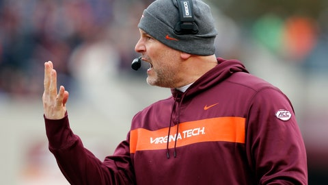 <p>               FILE - In this Nov. 23, 2018, file photo, Virginia Tech head coach Justin Fuente directs his team during the first half of an NCAA college football game in Blacksburg, Va. (AP Photo/Steve Helber, File)             </p>