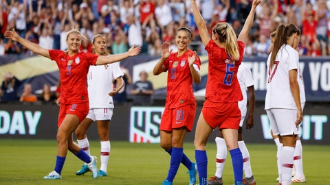 <p>               United States' Morgan Brian (6), Carli Lloyd (10) and Lindsey Horan (9) celebrate after a goal by Brian during the first half of the team's international friendly soccer match against Portugal, Thursday, Aug. 29, 2019, in Philadelphia. (AP Photo/Matt Slocum)             </p>