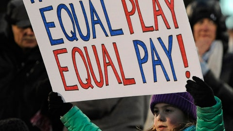<p>               FILE - In this April 6, 2016, file photo, a girl holds up a sign for equal pay for the U.S. women soccer players, during the first half of an international friendly soccer match between the United States and Colombia, in East Hartford, Conn. Players for the World Cup champion women's national team say mediation talks with the U.S. Soccer Federation over equal pay are over. Molly Levinson, who represents the players in matters concerning the dispute, said in a statement Wednesday, Aug. 14, 2019, that the players look forward to a jury trial. (AP Photo/Jessica Hill, File)             </p>