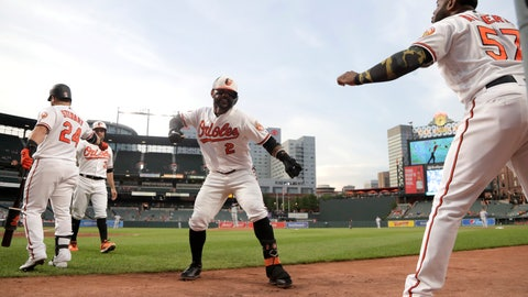 <p>               Baltimore Orioles' Jonathan Villar (2) is greeted near the dugout by Hanser Alberto (57) after hitting a two run home run off Kansas City Royals starting pitcher Mike Montgomery during the second inning of a baseball game, Wednesday, Aug. 21, 2019, in Baltimore. (AP Photo/Julio Cortez)             </p>