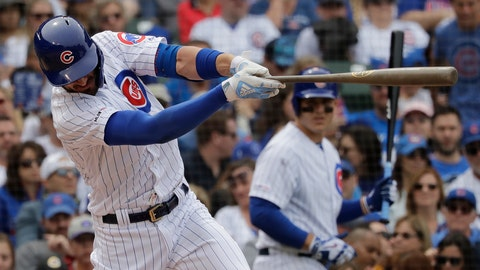 """<p>               FILE - In this June 21, 2019, file photo, Chicago Cubs' Kris Bryant hits a double during the fifth inning of the team's baseball game against the New York Mets in Chicago. Pete Alonso made a friendly offer toBryant in June, one that gave the Cubs star an appreciation for the Mets slugger's big heart, but even more so for the breakout rookie's big muscles. During a series between the Mets and Cubs at Wrigley Field, Alonso gave one of his specially made 34-inch, 32-ounce birch bats to Bryant. The 2016 NL MVP used it for about a week, and even hit a long homer with it against Atlanta's Dallas Keuchel. In the end, though, the 6-foot-5 Bryant realized he didn't have the might necessary to power Alonso's weapon of choice. """"The bat he swings is so big, it's so heavy,"""" Bryant said. """"He's an animal, man."""" (AP Photo/Nam Y. Huh, File)             </p>"""