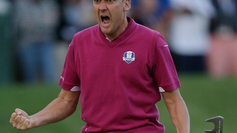 <p>               FILE - In this Saturday, Sept. 29, 2012 file photo, Europe's Ian Poulter reacts after making a putt on the 16th hole during a four-ball match at the Ryder Cup PGA golf tournament at the Medinah Country Club in Medinah, Ill. Poulter returns to Medinah this week for the BMW Championship. (AP Photo/Chris Carlson, File)             </p>