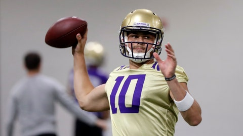 <p>               FILE - In this Aug. 5, 2019, file photo, Washington quarterback Jacob Eason readies a throw during an NCAA football practice in Seattle. In his tenure at Washington, Chris Petersen has faced situations where the Huskies lose a significant chunk of talent to the next level, only to replenish and continue what's been an upward trend during his first five seasons in charge.  This season will test whether the Huskies can simply continue to reloadThey could have Georgia transfer Jacob Eason _ once the top recruit in the country coming out of high school _ under center at quarterback. (AP Photo/Elaine Thompson, File)             </p>