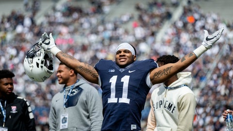 <p>               FILE - In this April 21, 2018, file photo, Penn State linebacker Micah Parsons acknowledges the crowd before the Blue-White spring college football game in State College, Pa. Last year, Parsons put together the greatest freshman season for a linebacker in Penn State's long history. He says he learned that earning a starting spot takes more than making a bunch of tackles.  (Joe Hermitt/PennLive.com via AP)             </p>