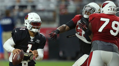 <p>               Arizona Cardinals quarterback Kyler Murray (1) runs with the ball as Cardinals offensive tackle Korey Cunningham (79) puts a block on Cardinals defensive tackle Darius Philon, middle, during an NFL football training camp practice at State Farm Stadium Tuesday, Aug. 6, 2019, in Glendale, Ariz. (AP Photo/Ross D. Franklin)             </p>