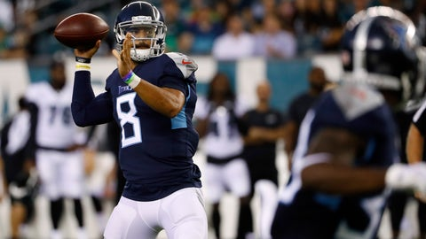<p>               Tennessee Titans' Marcus Mariota throws a pass during the first half of the team's preseason NFL football game against the Philadelphia Eagles, Thursday, Aug. 8, 2019, in Philadelphia. (AP Photo/Matt Rourke)             </p>