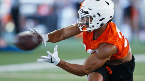 <p>               In this Thursday, Aug. 1, 2019 photo, Oklahoma State running back Chuba Hubbard reaches for a ball during NCAA college football practice in Stillwater, Okla. Hubbard was an unknown freshman backup a year ago. This season, he's a preseason All-Big 12 pick. (AP Photo/Sue Ogrocki)             </p>