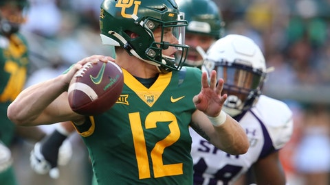 <p>               Baylor quarterback Charlie Brewer throws downfield against Stephen F. Austin in the first half of an NCAA college football game Saturday, Aug. 31, 2019, in Waco, Texas. (Rod Aydelotte/Waco Tribune-Herald via AP)             </p>