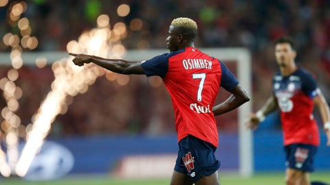 <p>               Lille's Victor Osimhen reacts after scoring during the French League One soccer match between Lille and St Etienne in Villeneuve d'ascq, Wednesday, August 28, 2019. (AP Photo/Michel Spingler)             </p>
