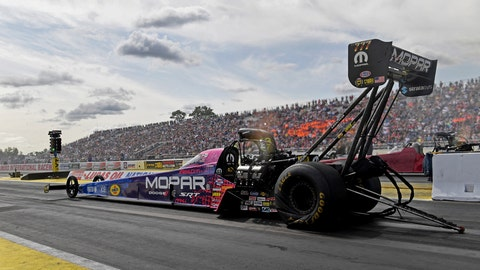 <p>               In this photo provided by the NHRA, Top Fuel's Leah Pritchett competes in the Lucas Oil NHRA Nationals at Brainerd International Raceway in Brainerd, Minn., Sunday, Aug. 18, 2019. Pritchett won over Mike Salinas in the final round at the raceway with her 3.732 second run at 321.04 mph to conclude the 38th annual Lucas Oil NHRA Nationals. (Marc Gewertz/NHRA via AP)             </p>