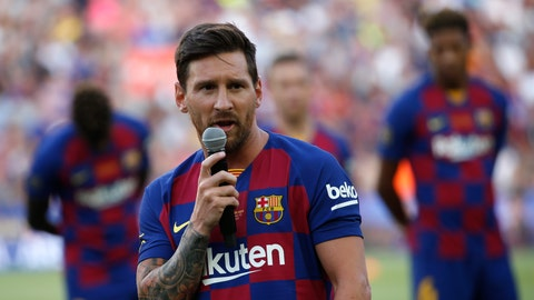 <p>               Barcelona forward Lionel Messi addresses the crowd prior of the Joan Gamper trophy soccer match between FC Barcelona and Arsenal at the Camp Nou stadium in Barcelona, Spain, Sunday, Aug. 4, 2019. (AP Photo/Joan Monfort)             </p>