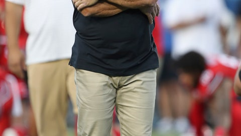 <p>               Utah coach Kyle Whittingham watches his team warm up for an NCAA college football game against BYU, Thursday, Aug. 29, 2019, in Provo, Utah. (AP Photo/George Frey)             </p>
