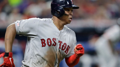 <p>               Boston Red Sox's Rafael Devers runs heads toward first on a two-run double during the sixth inning of the team's baseball game against the Cleveland Indians, Tuesday, Aug. 13, 2019, in Cleveland. (AP Photo/Tony Dejak)             </p>