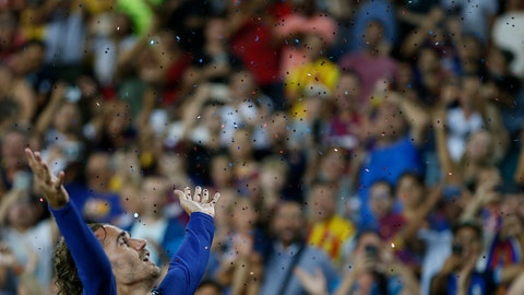 <p>               Barcelona's Antoine Griezmann celebrates after scoring his side's second goal during the Spanish La Liga soccer match between FC Barcelona and Betis at the Camp Nou stadium in Barcelona, Spain, Sunday, Aug. 25, 2019. (AP Photo/Joan Monfort)             </p>