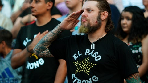 <p>               A man salutes during a memorial service for the victims of the Aug. 3 mass shooting, Wednesday, Aug. 14, 2019, at Southwest University Park, in El Paso, Texas. (AP Photo/Jorge Salgado)             </p>
