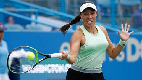 <p>               Jessica Pegula returns the ball during a semifinal match against Anna Kalinskaya, of Russia, at the Citi Open tennis tournament, Saturday, Aug. 3, 2019, in Washington. (AP Photo/Patrick Semansky)             </p>