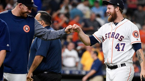 <p>               Houston Astros relief pitcher Chris Devenski, right, celebrates with Joe Biagini, who had pitched the eighth inning, the team's win and four-pitcher combined no-hitter in a 9-0 win over the Seattle Mariners in a baseball game, Saturday, Aug. 3, 2019, in Houston. (AP Photo/Eric Christian Smith)             </p>