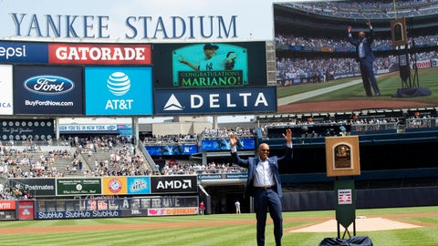 <p>               Former New York Yankees pitcher and hall of famer Mariano Rivera waves as the crowd as arrives on the field for a ceremony before a baseball game between the New York Yankees and the Cleveland Indians, Saturday, Aug. 17, 2019, in New York. (AP Photo/Mary Altaffer)             </p>