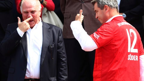 <p>               Bayern Munich President Uli Hoeness, left, laughes besides Bavarian State Governor Markus Soeder during a reception for his soccer clubnin Munich, Germany, Wednesday, Aug. 28, 2019. (AP Photo/Matthias Schrader)             </p>