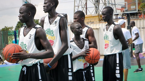<p>               In this photo taken Tuesday, Aug. 20, 2019, players stand on the court doing exercises during a three-day basketball training camp run by Giants of Africa in Juba, South Sudan. Masai Ujiri, president of the Toronto Raptors basketball team who won the NBA championship for the first time this year, is founder of the Giants of Africa non-profit organization which runs a three-day training camp in South Sudan to empower youth through basketball. (AP Photo/Sam Mednick)             </p>