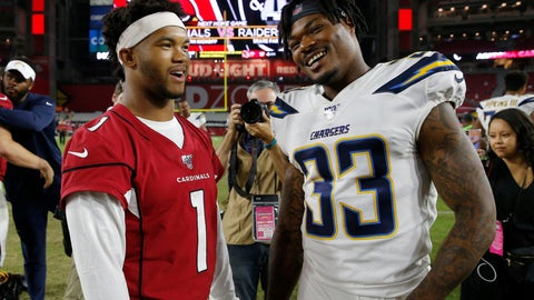 <p>               Arizona Cardinals quarterback Kyler Murray (1) greets Los Angeles Chargers free safety Derwin James (33) after an NFL preseason football game, Thursday, Aug. 8, 2019, in Glendale, Ariz. (AP Photo/Rick Scuteri)             </p>