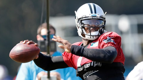 <p>               Carolina Panthers quarterback Cam Newton passes during an NFL football training camp with the Buffalo Bills in Spartanburg, S.C., Tuesday, Aug. 13, 2019. (AP Photo/Gerry Broome)             </p>