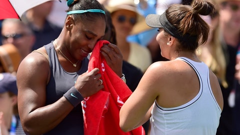 <p>               Canada's Bianca Andreescu, right, consoles Serena Williams, of the United States, after Williams had to retire from the final of the Rogers Cup tennis tournament in Toronto, Sunday, Aug. 11, 2019. (Frank Gunn/The Canadian Press via AP)             </p>
