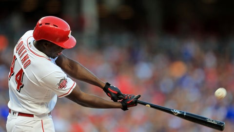 <p>               Cincinnati Reds' Aristides Aquino hits a solo home run, his second home run of the game, in the third inning of a baseball game against the Chicago Cubs, Saturday, Aug. 10, 2019, in Cincinnati. (AP Photo/Aaron Doster)             </p>