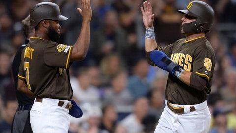 <p>               San Diego Padres' Manuel Margot, left, and Luis Urias celebrate after scoring on a double by Fernando Tatis Jr. during the third inning of the team's baseball game against the Colorado Rockies on Friday, Aug. 9, 2019, in San Diego. (AP Photo/Orlando Ramirez)             </p>