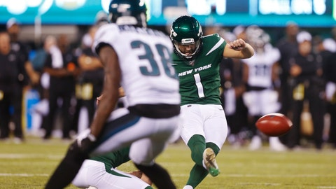 <p>               New York Jets' Taylor Bertolet (1) kicks a field goal during the first half of a preseason NFL football game against the Philadelphia Eagles, Thursday, Aug. 29, 2019, in East Rutherford, N.J. (AP Photo/Jim McIsaac)             </p>