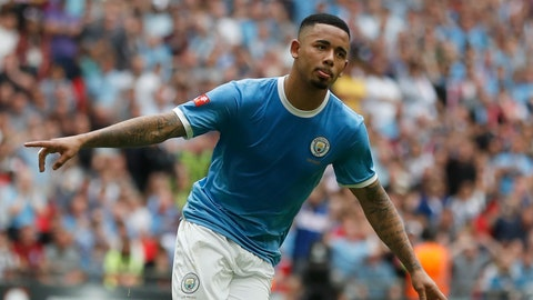 <p>               Manchester City's Gabriel Jesus celebrates after scoring in a penalty shoot out, with his goal winning the shot out and the match 5-4, during the Community Shield soccer match between Manchester City and Liverpool at Wembley Stadium in London, Sunday, Aug. 4, 2019. The match ended 1-1 and Manchester City won the match 5-4 after a penalty shoot out. (AP Photo/Frank Augstein)             </p>