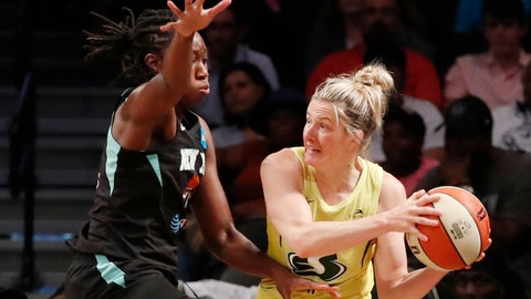 <p>               Seattle Storm guard Sami Whitcomb, right, passes around New York Liberty center Tina Charles, left, during the first half of a WNBA basketball game, Sunday, Aug. 11, 2019, in New York. (AP Photo/Kathy Willens)             </p>