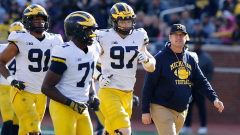 """<p>               FILE- In an April 13, 2019, file photo, Michigan head coach Jim Harbaugh walks out with players during the team's annual spring NCAA college football game in Ann Arbor, Mich. Harbaugh seems to be set up for success at Michigan in his fifth season, leading a program that is a popular choice to win the Big Ten. """"That's where I would pick us,"""" Harbaugh said. Some are predicting the Wolverines will earn a spot in the College Football Playoff to give them a chance to win a national championship for the first time since 1997. (AP Photo/Carlos Osorio, File)             </p>"""