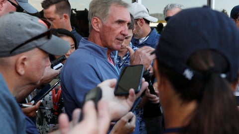 <p>               Retired NFL head coach Mike Shanahan, center, talks to reporters during a combined NFL training camp at which the Denver Broncos hosted the San Francisco 49ers Saturday, Aug. 17, 2019, at the Broncos' headquarters in Englewood, Colo. (AP Photo/David Zalubowski)             </p>