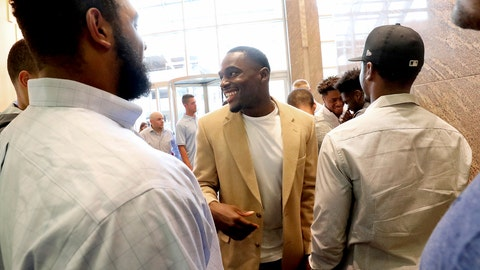 <p>               Former Wisconsin Badger football player Quintez Cephus, center, greets current members of the team following a press conference to reiterated his request for reinstatement to the university in Madison, Wis. Monday, Aug. 12, 2019. The former wide receiver was acquitted earlier this month of sexual assault charges stemming from a campus incident in his apartment. He was expelled from the university in March after the university's own internal investigation. (John Hart/Wisconsin State Journal via AP)             </p>