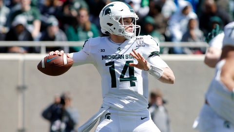 <p>               FILE - In this April 13, 2019, file photo, Michigan State quarterback Brian Lewerke looks to throw a pass during an NCAA college football spring scrimmage game, in East Lansing, Mich. Tulsa plays at No. 18 Michigan State on Friday, Aug. 31, 2019.  (AP Photo/Al Goldis, File)             </p>