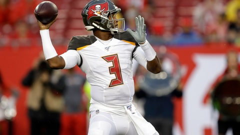 <p>               Tampa Bay Buccaneers quarterback Jameis Winston (3) throws a pass during the first half of an NFL preseason football game against the Miami Dolphins Friday, Aug. 16, 2019, in Tampa, Fla. (AP Photo/Chris O'Meara)             </p>