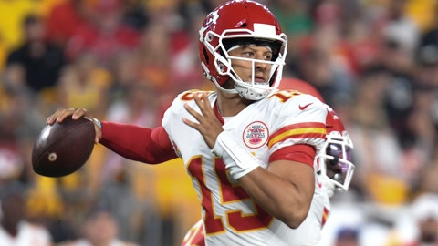 <p>               Kansas City Chiefs quarterback Patrick Mahomes passes in the first half of an NFL football game against the Pittsburgh Steelers, Saturday, Aug. 17, 2019, in Pittsburgh. (AP Photo/Barry Reeger)             </p>