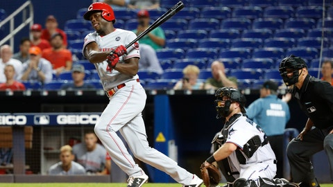 <p>               Cincinnati Reds' Aristides Aquino hits a double during the fourth inning of a baseball game against the Miami Marlins, Wednesday, Aug. 28, 2019, in Miami. The Reds defeated the Marlins 5-0. (AP Photo/Wilfredo Lee)             </p>