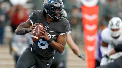 <p>               FILE - In this Thursday, Nov. 22, 2018, file photo, Air Force quarterback Donald Hammond III rolls out of the pocket against Colorado State in the second half of an NCAA college football game at Air Force Academy, Colo. The Falcons return seven players on defense and seven more on offense. They certainly have experience at quarterback after Donald Hammond III and Isaiah Sanders split time last season.  (AP Photo/David Zalubowski, File)             </p>