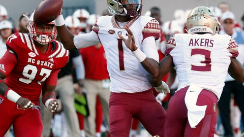 <p>               FILE - In this Nov. 3, 2018, file photo, Florida State's James Blackman (1) looks to pass during the first half of the team's NCAA college football game against North Carolina State in Raleigh, N.C. Blackman is in the driver's seat in the quarterback competition at Florida State. (AP Photo/Chris Seward, File)             </p>