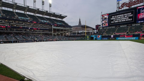 <p>               A rain delay before a Cleveland Indians baseball game against the Texas Rangers keeps the field covered in Cleveland, Tuesday, Aug. 6, 2019. The game was eventually postponed. (AP Photo/Phil Long)             </p>