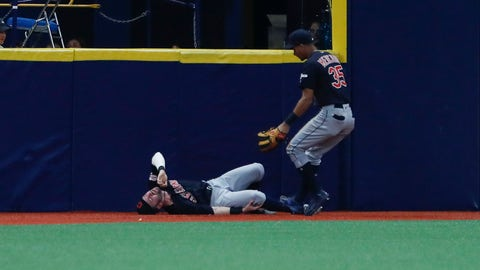 <p>               Cleveland Indians left fielder Tyler Naquin lies on the turf after making a catch against the Tampa Bay Rays during the third inning of a baseball game Friday, Aug. 30, 2019, in St. Petersburg, Fla. (AP Photo/Scott Audette)             </p>