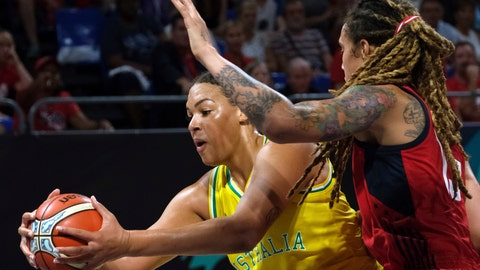 <p>               FILE - In this Sept. 30, 2018, file photo, Liz Cambage, of Australia, left, drives to the basket as Brittney Griner, of the United States, tries to block her during the women's basketball World Cup final match between Australia and the U.S.A. in Tenerife, Spain. Las Vegas Aces All-Star Liz Cambage was all smiles heading into Sunday's game against the Connecticut Sun. From pre-game warmups, to the opening tip, to the end of a 21-point, 12-rebound performance in the Aces' 89-81 victory, nobody would have guessed she's been dealing with mental health issues for roughly half her life. (AP Photo/Andres Gutierrez, File)             </p>