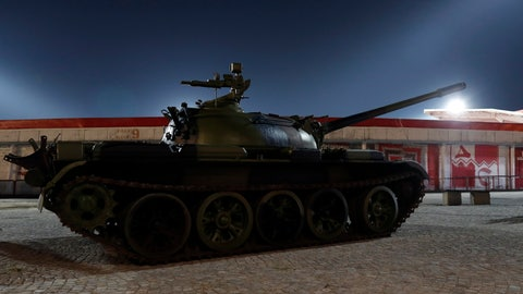 <p>               Former Yugoslav army T-55 tank is placed in front of northern grandstand of Rajko Mitic stadium, a day before the Champions League play-off, second leg soccer match between Red Star and Young Boys in Belgrade, Serbia, Monday, Aug. 26, 2019.  The tank is meant as a gesture of support for the Red Star team. (AP Photo/Darko Vojinovic)             </p>