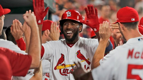 <p>               St. Louis Cardinals' Dexter Fowler is congratulated by teammates after hitting a two-run home run during the seventh inning of the team's baseball game against the Colorado Rockies on Thursday, Aug. 22, 2019, in St. Louis. (AP Photo/Jeff Roberson)             </p>