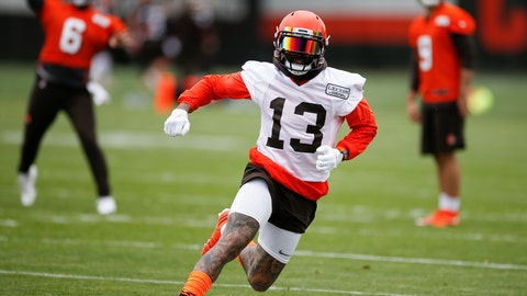 <p>               FILE - In this June 4, 2019, file photo, Cleveland Browns wide receiver Odell Beckham Jr. runs a drill at the team's NFL football training facility in Berea, Ohio. Beckham Jr. took part in team drills during practice for the first time in nearly three weeks, Monday, Aug. 26, 2019. (AP Photo/Ron Schwane, File)             </p>