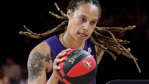 <p>               FILE - In this July 26, 2019, file photo, Phoenix Mercury's Brittney Griner competes in the skills challenge during the WNBA All-Star festivities in Las Vegas. The Mercury have been ravaged by injuries lately and may be without Brittney Griner for three games because of her role in the fight that occurred against Dallas last Saturday, Aug. 10. (AP Photo/John Locher, File)             </p>