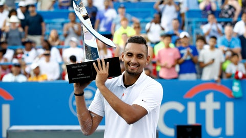 <p>               Nick Kyrgios, of Australia, poses for photos with a trophy after defeating Daniil Medvedev, of Russia, in a final match at the Citi Open tennis tournament, Sunday, Aug. 4, 2019, in Washington. (AP Photo/Patrick Semansky)             </p>